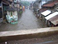 Down town Bharuch during monsoon season