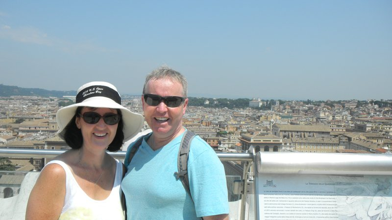Mum and Dad on top of the Piazza de Venezia