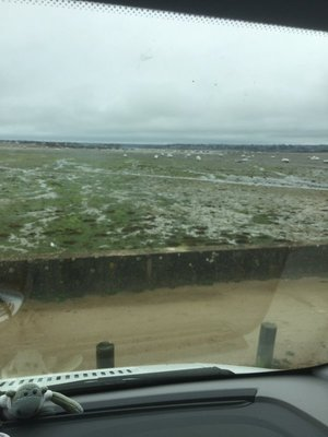 View from van in Saint Pol de Leon... waiting for sun and the tide..