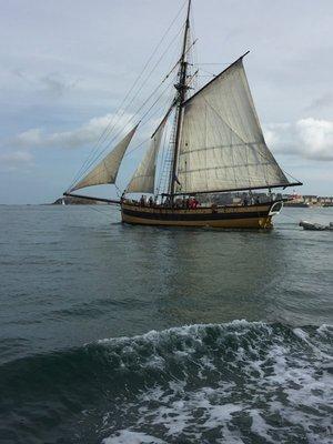 Sailing boat in bay at St Malo