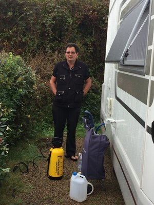 Graham gearing up to wash the van...