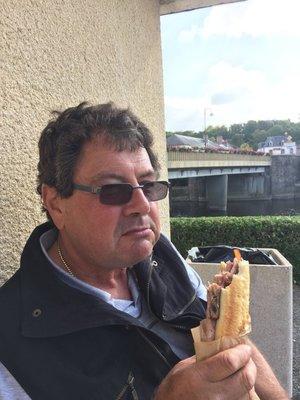 Graham enjoying Jambon and Frites in Pont Herbert