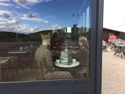 American soldiers having tea in the tea room ...they have been there a long time