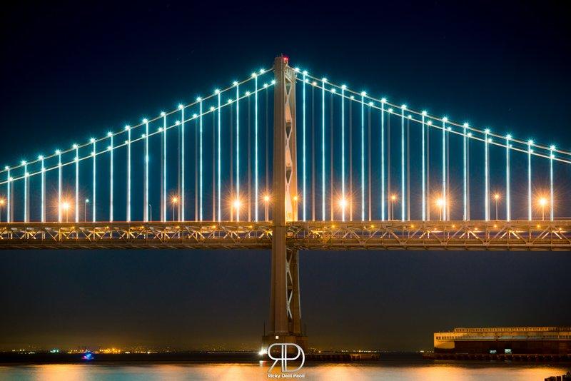 Night Colors of the Bay Bridge in San Francisco