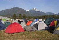 Tent city and a familiar tent