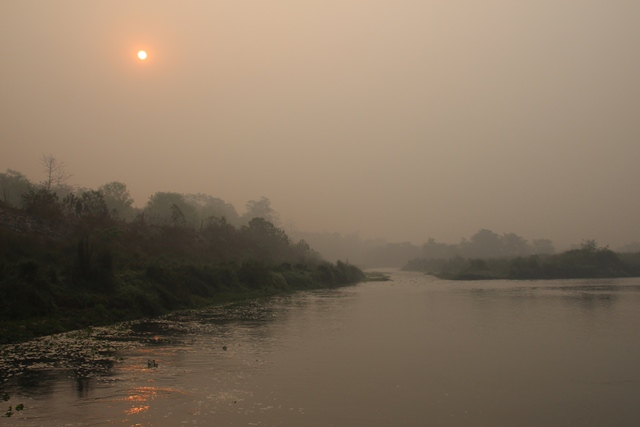 Sunrise at river 'Rapti'