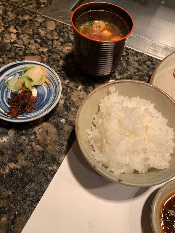 Rice, miso soup and pickles were brought