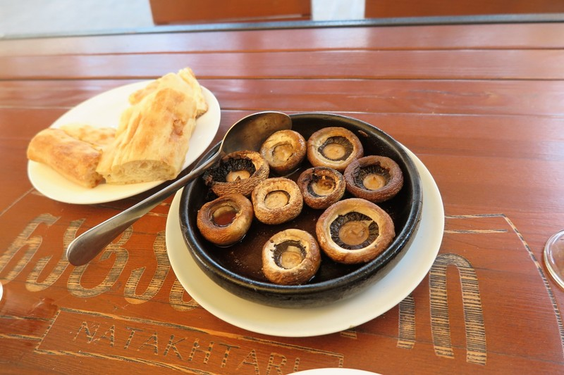 Mushrooms baked in clay pot