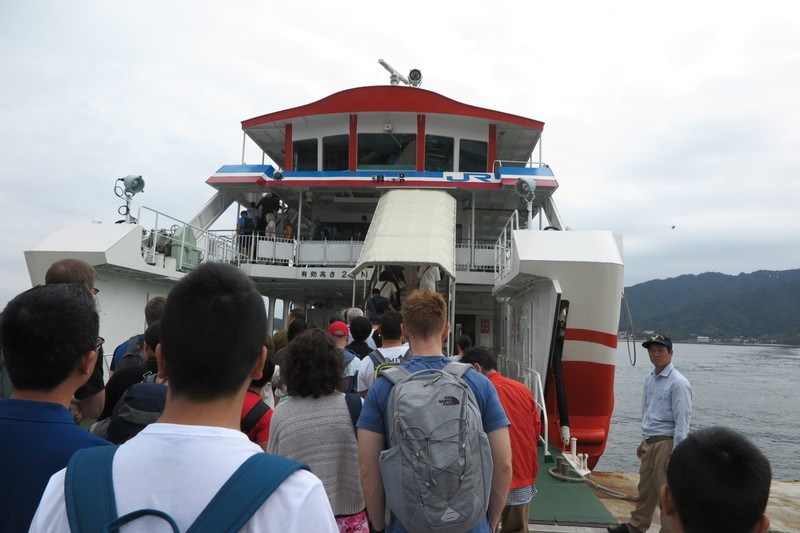 Boarding the ferry to Miyajima Island