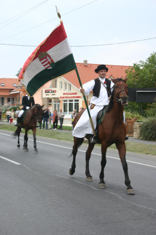 Traditionell horseman with flag of Hungary