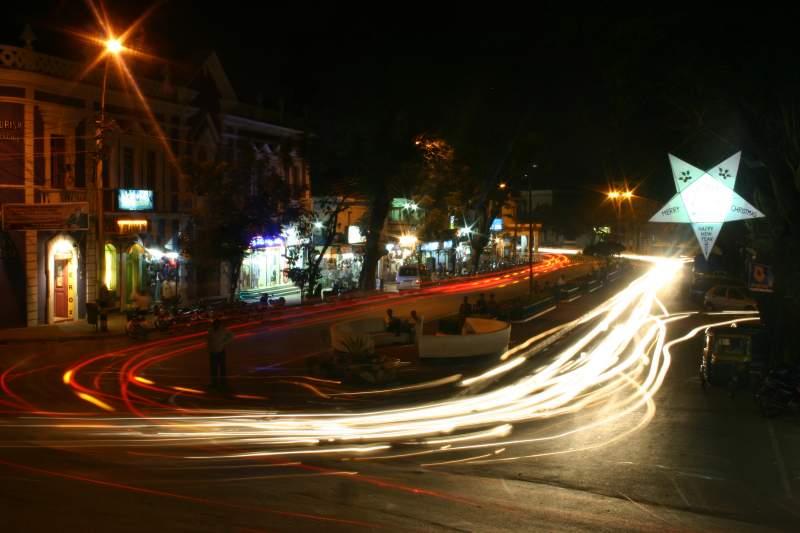 Night view of road in Panjim, Goa