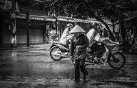 Old lady at Old Quarter, Hanoi, Vietnam