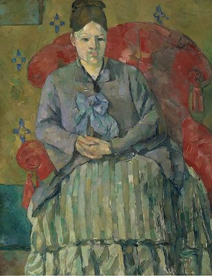 Paul Cézanne (French, Aix-en-Provence 1839–1906 Aix-en-Provence)Madame Cézanne in a Red Armchair (Madame Cézanne in a Striped Dress), ca. 1877Oil on canvas; 28 ½ x 22 in. (72.5 x 56 cm.)The Metropolitan Museum of Art, New York, Museum of Fine Arts, Boston, Bequest of Robert Treat Paine, 2nd (SL.19.2014.2.1)http://www.metmuseum.org/Collections/search-the-collections/462615