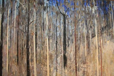Huge Arthur Boyd  gum tree painting spot the Cockatoo