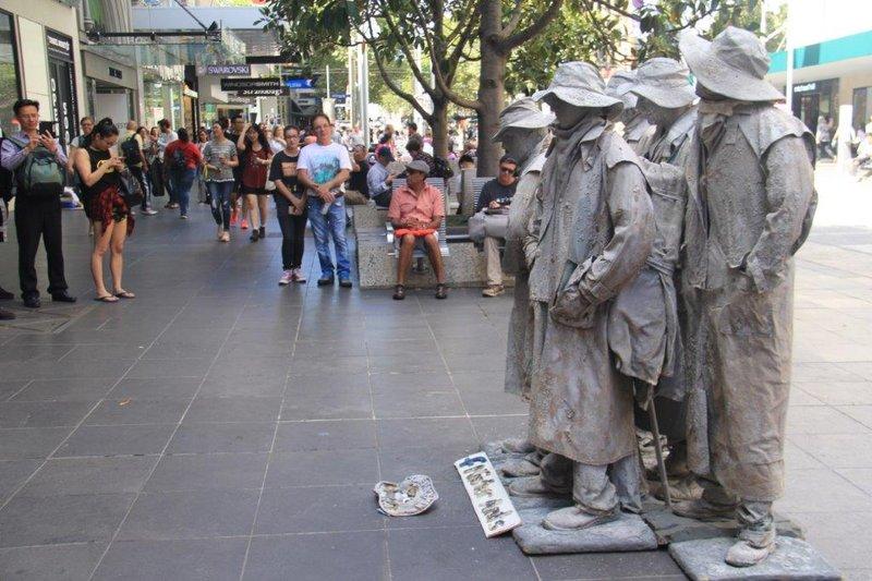 Statue like buskers in Melbourne CBD