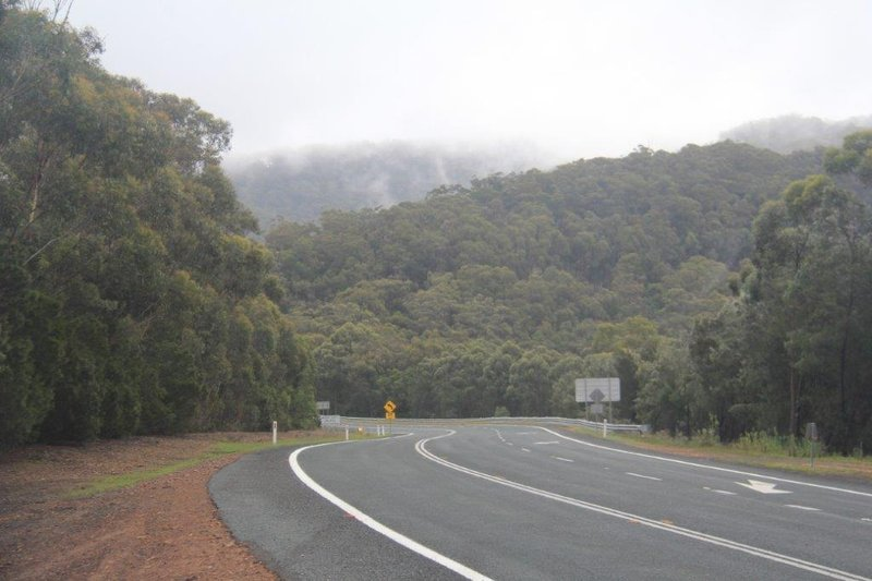 The road was up and down and misty but beautiful