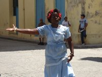 dancing woman in plaza