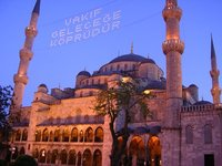 Istanbul Blue Mosque Message in Lights