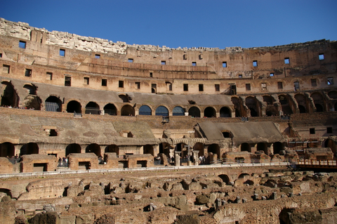 The rising stands of the Colosseum