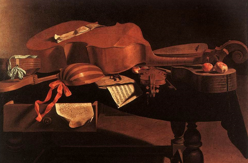 """""""Musical Instruments on a Table"""" By Evaristo Baschenis."""