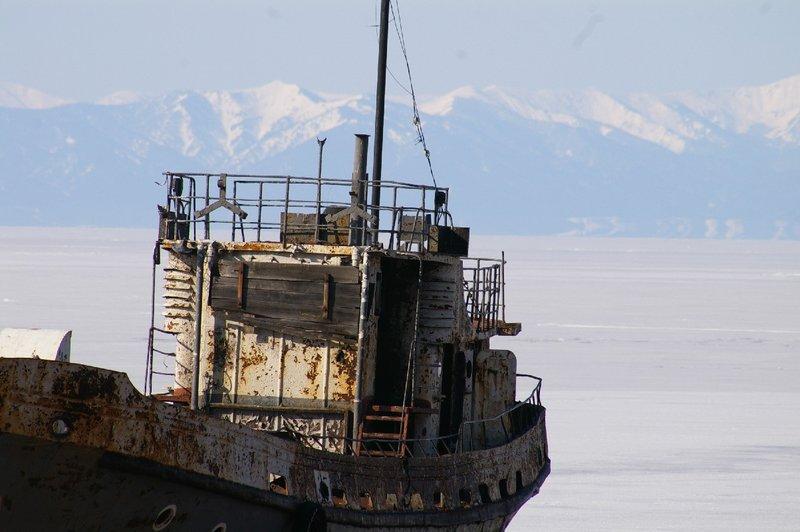 Ship with mountains Lake Baikal