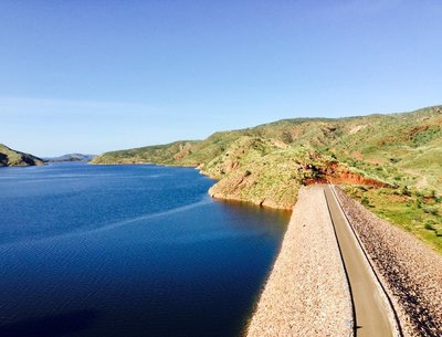 On top of the Lake Argyle Dam wall.
