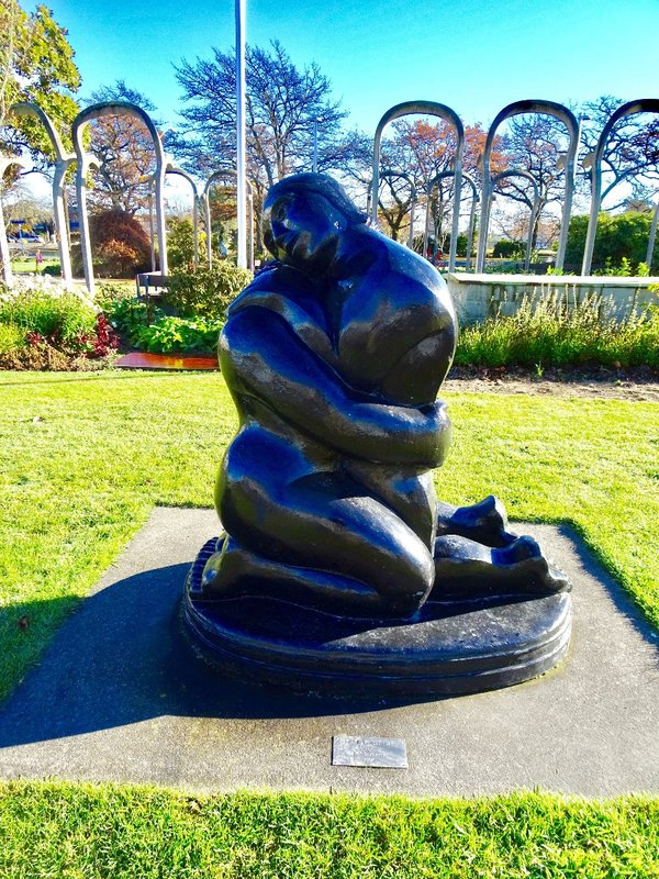 """Love Me Tender was created by a well-known Christchurch sculptor in 1994 and placed in East Baring Square in Ashburton a couple of years later. Evidently it was considered somewhat controversial to have a """"risqué"""" sculpture on the square."""