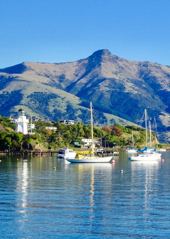 The view from the Britomart Reserve looking toward the Akaroa Lighthouse