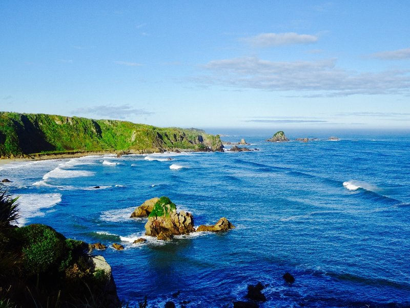 The cliff side portion of our walk at Cape Foulwind had this view.