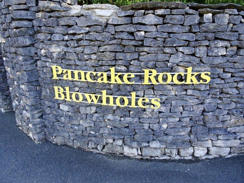 This is the entrance to the Pancake Rocks walkway at Punakaiki.