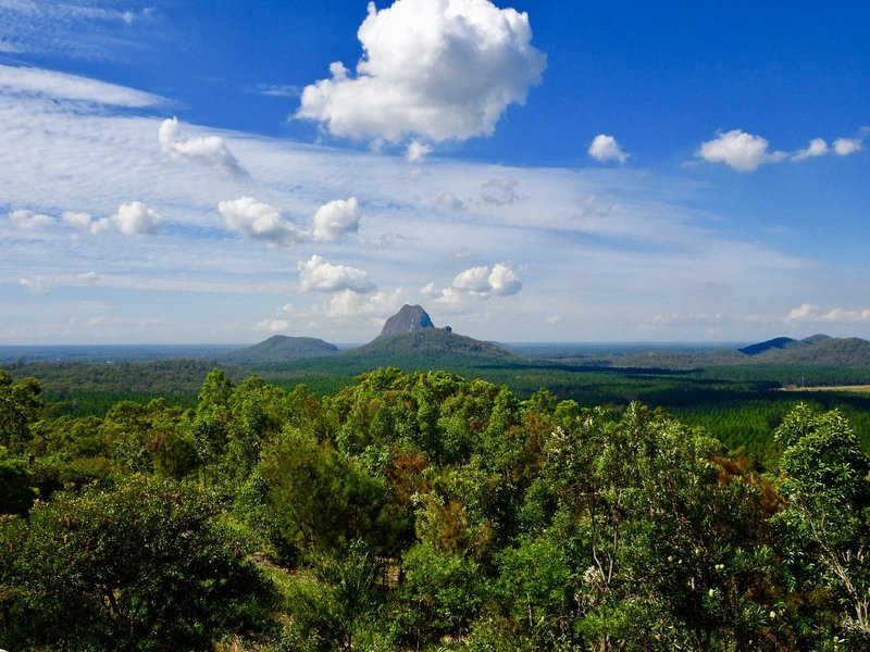 A few of the Glass House Mountains, as viewed from lookout.