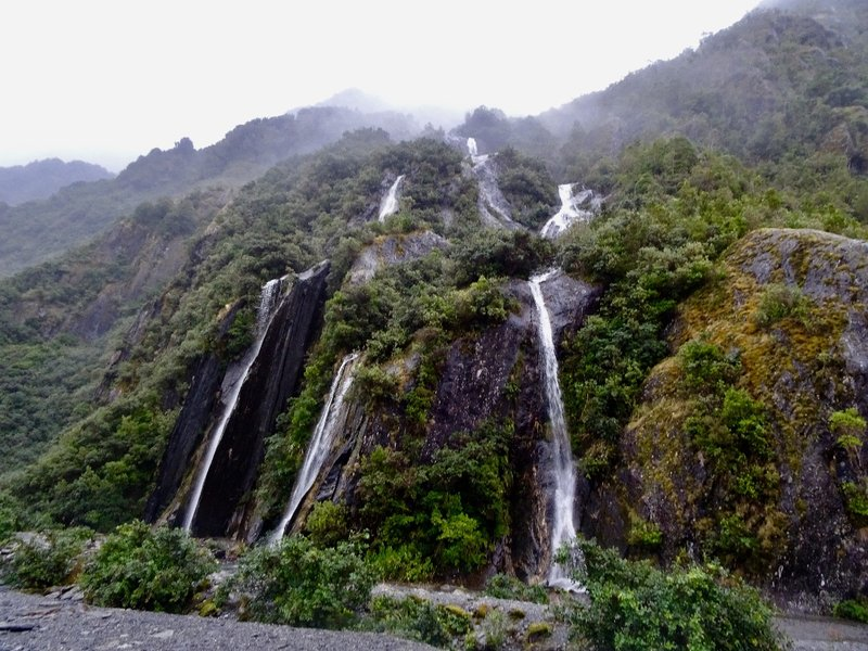 We walked by multiple waterfalls like this on our way to the Frank Josef Glacier.