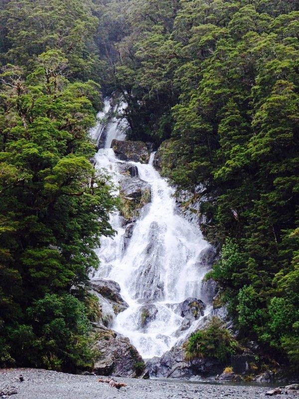 A waterfall at Mount Aspiring NP.