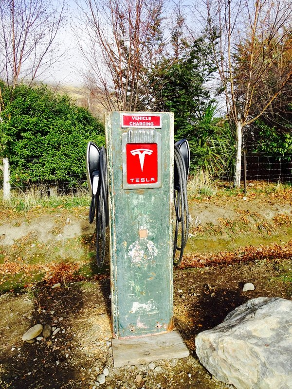 An old Tesla pump repurposed as a charging station in Cardrona.