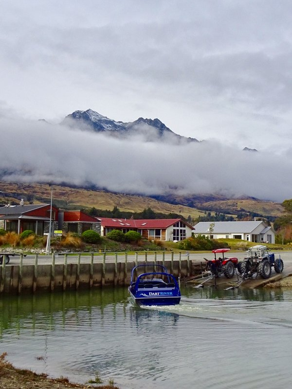 Jet boat rides on the Dart River are a popular thing to do in Glenorchy, but business was slow on this day. We noticed that tractors are frequently used to tow/launch boats in NZ.