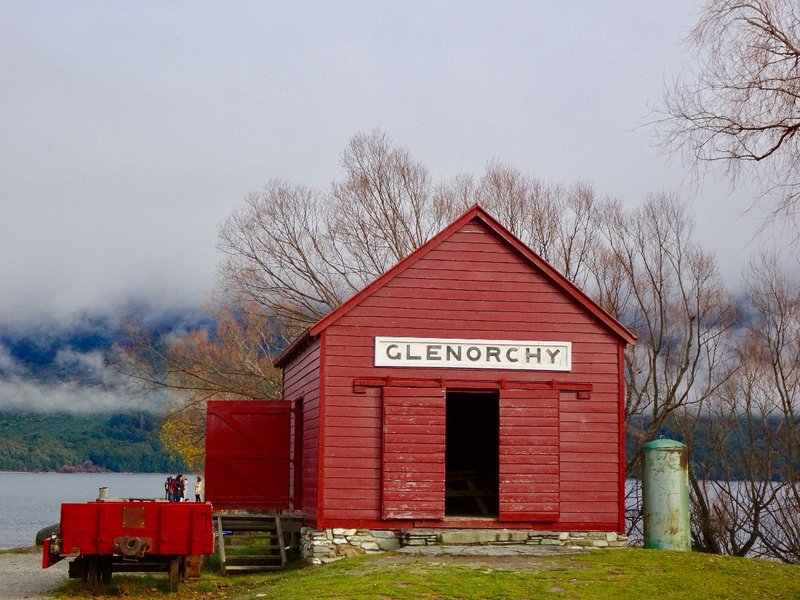 The Glenorchy wharf and railway shed are located on the north end of Lake Wakatipu. Until the 1960's, there was no road to here from Queenstown.