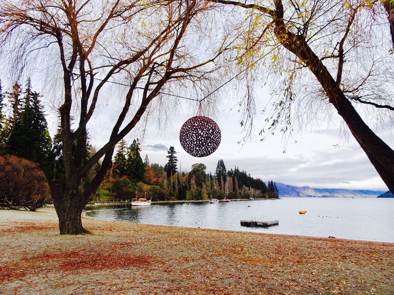 When we visited, they were setting up for an art show in the Queenstown Gardens and along the shoreline.
