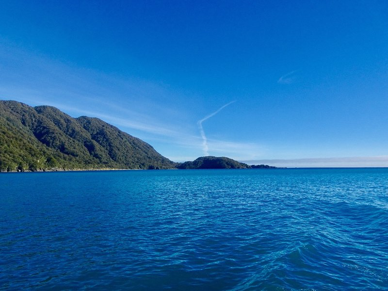 The point where the Milford Sound opens up into the Tasman Sea.