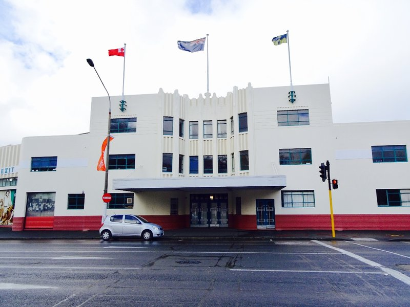 This portion of the Art Deco building was once the entrance to the  NZ Railways Bus Station; now the whole building houses the transport wing of the Settlers Museum.