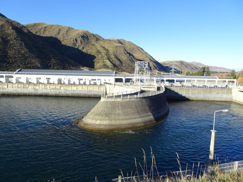 The Waitaki Dam near Kurow, was the last dam built in NZ using manual labor (a pick, shovel, and wheel barrow). Seven more dams on the Waitaki would follow; this one is is touted as the first to be built without diverting the river's natural flow.