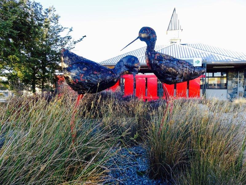 A bird sculpture in the center of Twizel.