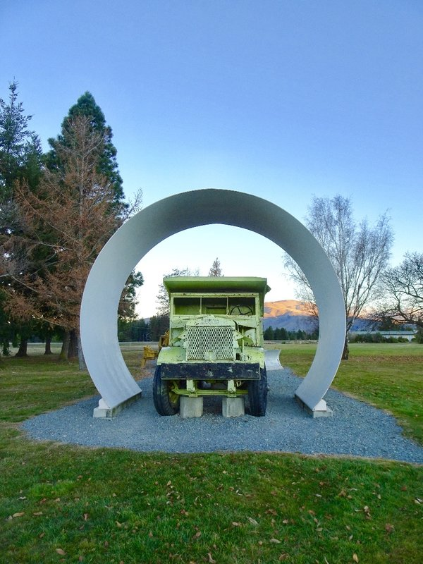 A Euclid dump truck that was used in building the dam, is on display in Twizel