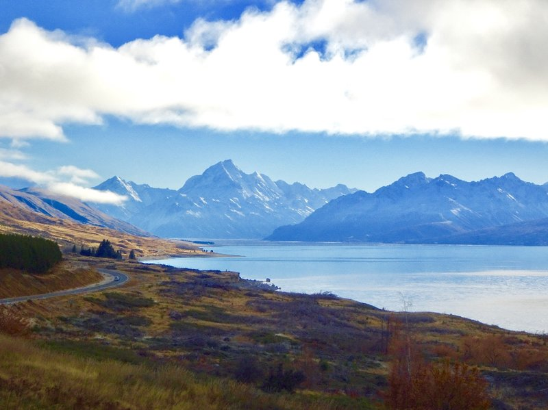 On the way to Aoraki/Mt Cook NP, we stopped at this Lake Pukaki<br />vista for our first real look at Mt Cook and the surrounding mountain ranges.