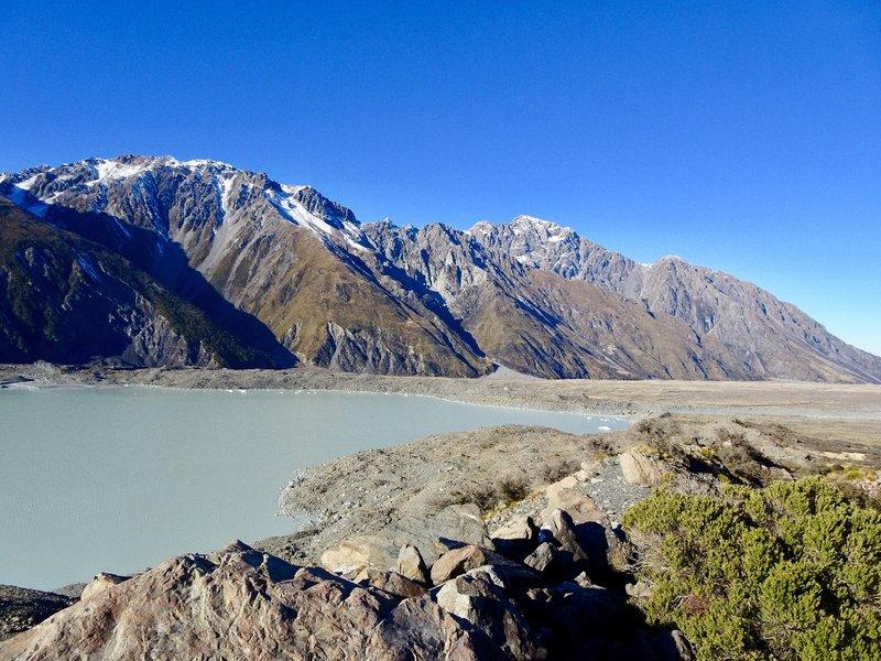 The Tasman Glacier Lake where it empties into the Tasman River.