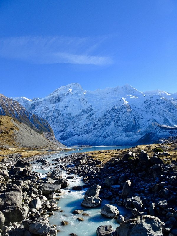 A beautiful view looking up the Hooker Valley toward the Mueller Glacier and Mount Sefton.