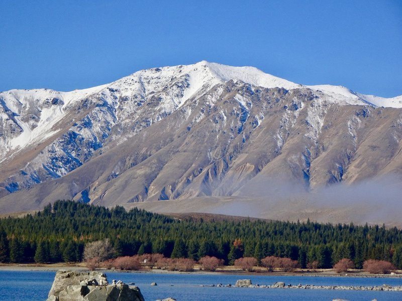 A close up of one the mountains on the east side of a Lake Tekapo; this range is called Two Thumbs.