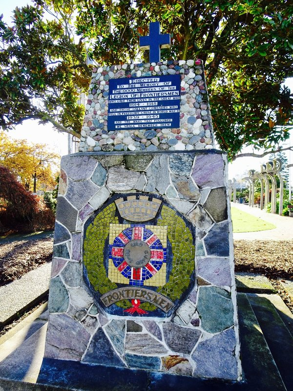 The Legion of Frontiersmen Memorial is also at the East Baring Square.The frontiersmen were a group of local scouts/guides existing throughout the British Empire to help the British army  ( in this case in NZ ). They suffered heavy causalities especially in WWI.