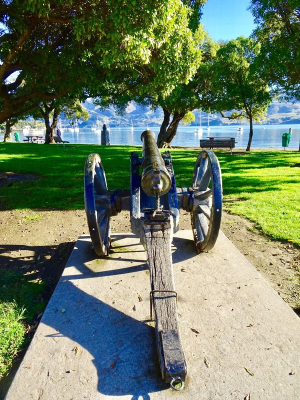 An old cannon at Britomart Reserve in Akaroa. Although this cannon is not from the HMS Britomart, it is similar to one that would have been used.
