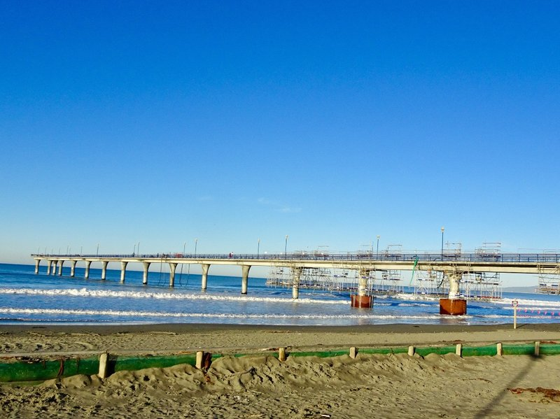 The New Brighton Pier is under repair secondary to earthquake damage. It is still accessible, but both cosmetic deck/rail repair and seabed level repair of columns are expected to continue for months.