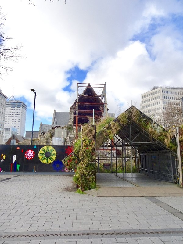 This view of the partially demolished church serves as a background for two of the artwork projects designed temporarily for the square. The little plant covered building is called a whare; it is a Maori hut that serves as a gathering place. The other art project is the hoard board covered with geometric designs, which was placed on a hurricane fence. This fence serves as a barrier to all the construction projects in the area.